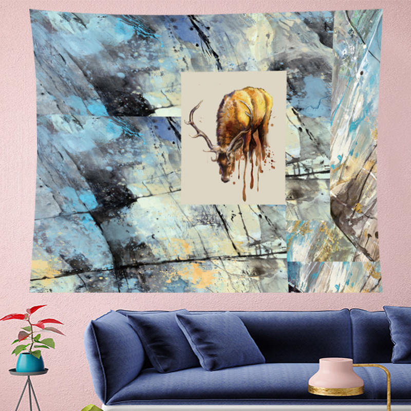 Abstract style Elk wall hanging Tapestries hippie Oil painting mechanism wall hanging personality wall hanging Tapestry Hanging in Tapestry from Home Garden
