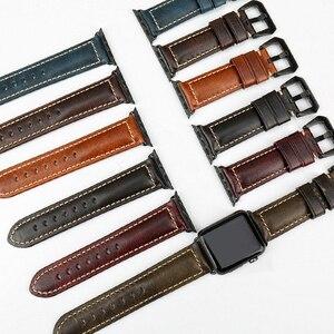 Image 4 - MAIKES accesorios para reloj apple watch, correa de cuero de vaca genuino, 40mm, 38mm, Correa marrón para apple watch de 44mm y 42mm, pulsera iwatch 4