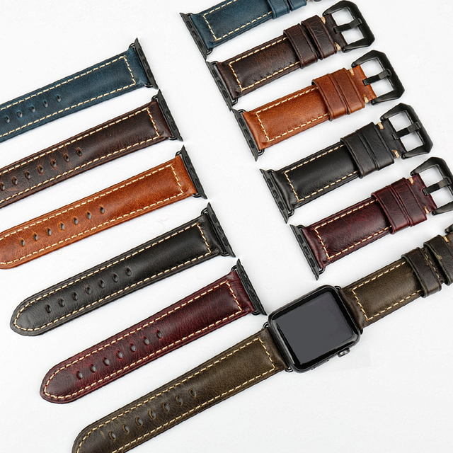 MAIKES genuine cow leather watch accessories for apple watch strap 40mm 38mm brown apple watch band 44mm 42mm iwatch 4 bracelet 3