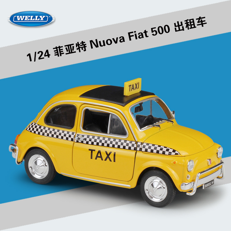 WELLY Diecast 1:24 Simulator Metal Model Car Nuova Fiat 500\1999 Ford Crown Victoria Taxi Alloy Toy Car For Kids Gift Collection