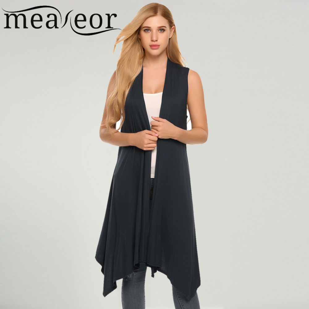Meaneor Women Vest Sleeveless Cardigan Casual Draped Asymetric Hem ...