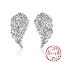 Jemmin Marque Wing Conception 925 Sterling Argent Transparent Micro Diamant Stud Boucles D'oreilles Bijoux Fine Femmes Parti Brincos Accessoire
