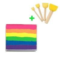 [Comprar juntos, precio más barato] 50g Neon Rainbow Cara pintura + 4 unids esponjas Cepillos sello profesional Cara pintura Pintura corporal cosmética