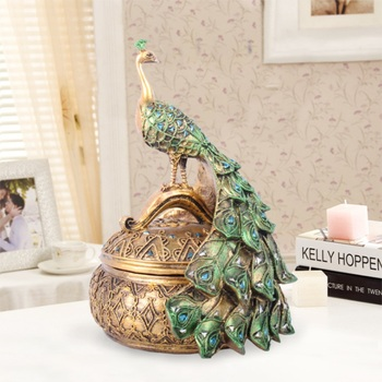 Home Decoration Accessories Peacock Jewelry Box Resin Decoration Home Animal Cool Peacock Home Cool Accessories