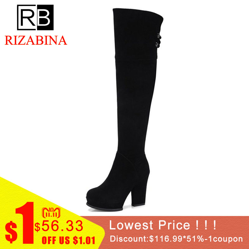 RIZABINA Free shipping over knee natrual real genuine leather high heel boots women snow winter warm shoes R1907 EUR size 34-39 free shipping over knee natrual genuine leather high heel boots women snow winter warm boot shoes coolcept r1538 eur size 30 45