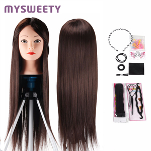 Professional Bride Hairdressing 24 Inch Mannequin Dolls Long Hair Training Head Synthetic Thick Hair Mannequin Head Hair Tools(China)