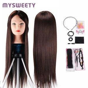 Professional Bride fryzjerstwo 24 Cal manekin lalki długie włosy szkolenia głowy syntetyczne grube włosy głowa manekina narzędzia do włosów