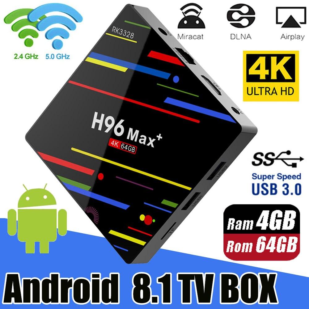 H96 MAX Plus caja de TV inteligente Android 8,1 TVBox 4 GB de Ram 32 GB/64 GB Rom Rockchip RK3328 4 K H.265 USB3.0 2,4 Ghz WiFi IP TV Set Top Box - 2
