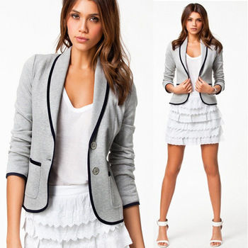 Spring Autumn New Women's Coats Full Sleeve Single Breasted Jackets Coat For Women Cotton Slim Casual Suit