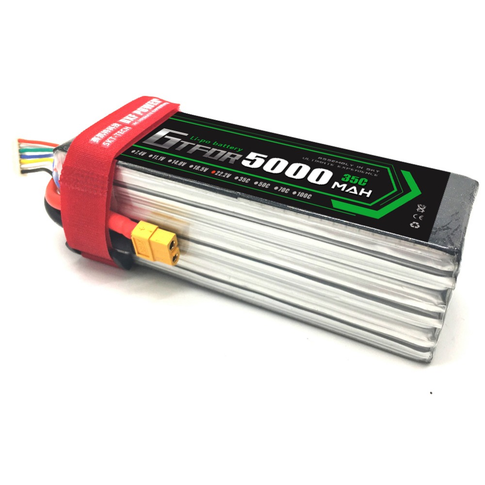 GTFDR <font><b>6S</b></font> 22.2V <font><b>5000mAh</b></font> 35C <font><b>Lipo</b></font> Battery XT90 EC5 XT60 T Deans Connectors RC Cars Boats Quadcopter Airplane Multicopter Truck image
