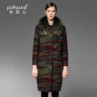 Pokwai Длинные зимнее шерстяное пальто Для женщин Смеси 2017, широкий талией пальто с длинными рукавами, шерстяные принтом женский парка