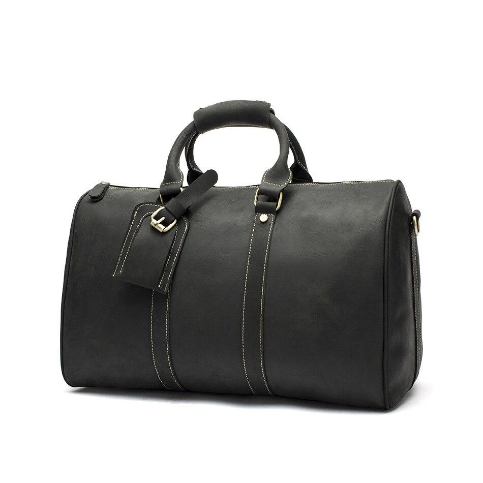 Hot Koop Lederen Tas Mode Top Laag Koe Lederen Mannen Grote Reistas Designer Eenvoudige Patchwork Zwarte Hand Tas - 2