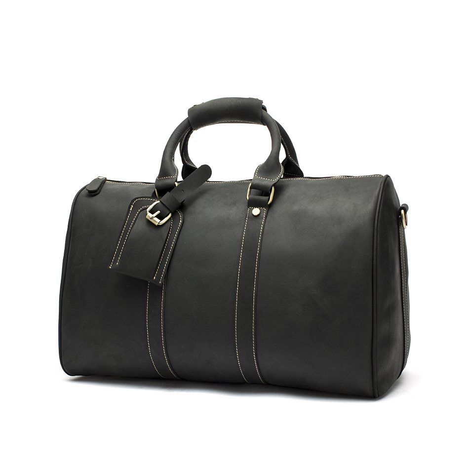 Hot Sale Genuine Leather Bag Fashion Top Layer Cow Leather Men Large Travel Bag Designer Simple Patchwork Black Hand Bag - 2