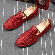 ERRFC Designer Men Red Casual Comfort Shoes Round Toe Fashion Bling Glitter  Man Slip On Flat 4c51b5357d5f