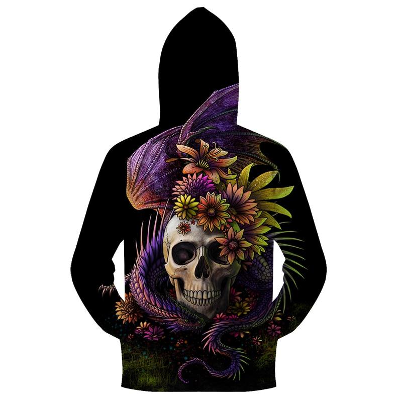 Flowery Skull By SunimaArt 3D Zipper Hoodie Women Sweatshirt Brand Hoodie Tracksuit Drop Ship Pullover New Skull Design ZOOTOP B