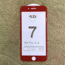 Red white black 4D tempered glass for iPhone 7 Plus full cover 4D(New 3D)film protective iPhone7 edge screen