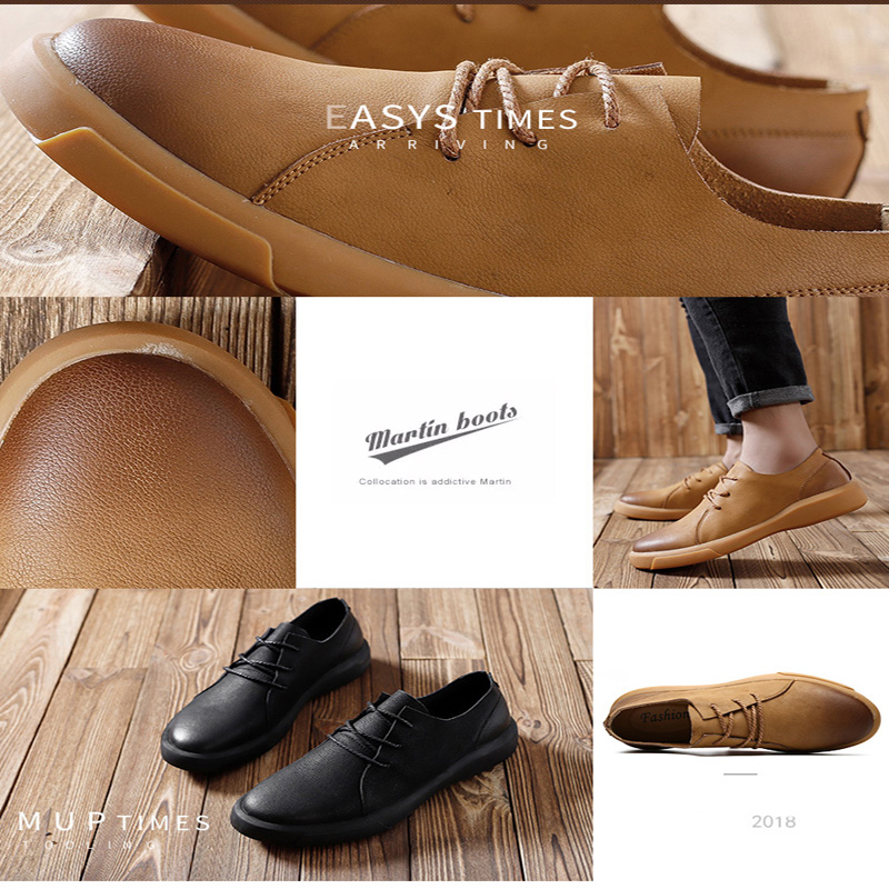 Image 5 - Genuine Leather Shoes Men Leather Sneakers Flats Design Style Men Shoes  Loafers Lace Up Walking Casual Shoes Men Big Size 37 47-in Men's Casual Shoes from Shoes