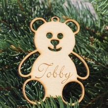 Custom Wooden Happy Bear Ornament With Name Birhday Tag Rustic Wedding Favor Tags Personalized Gift Tagwood Hang