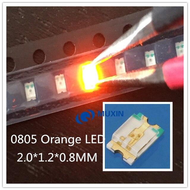 100pcs LED SMD 0805 (2012) Chip Orange LED Light Emitting Diode 20mA DC 2V Lamp Surface Mount Electronics Components for PCB
