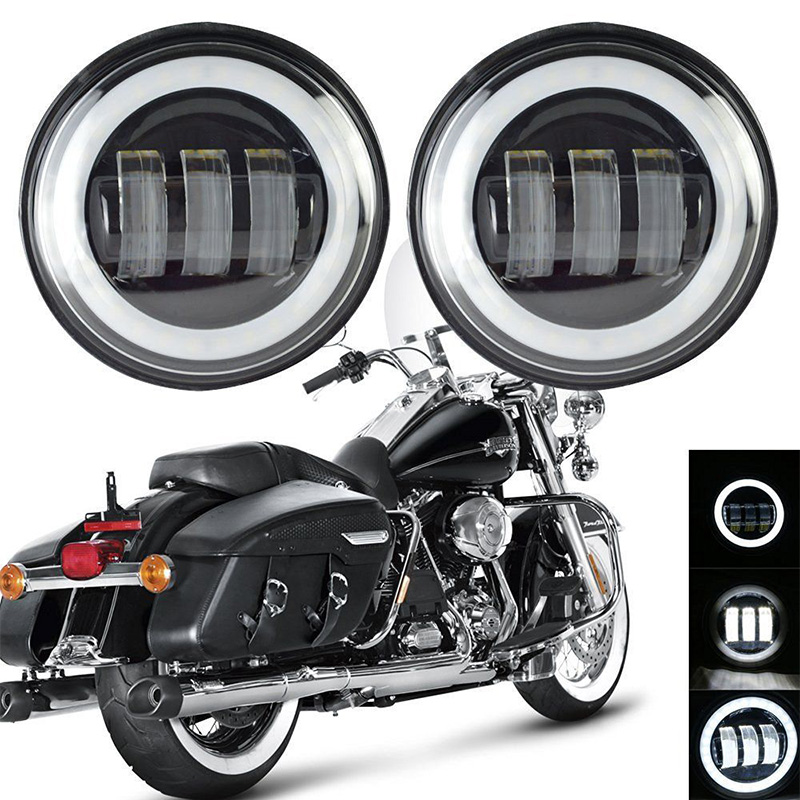 2PCS 4 1/2 4.5 Inch Auxiliary Passing Lamp 30W Halo Angel Eyes Fog Light DRL For Harley Motorcycle
