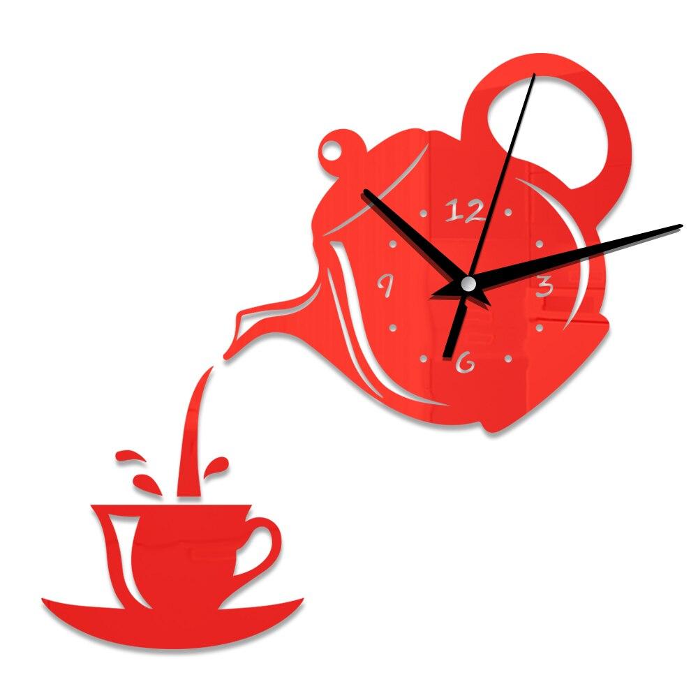 Wall Clocks Living Room Dining Room Home Decor Clock Creative DIY Acrylic Coffee Cup Teapot 3D Wall Clock Decorative Kitchen