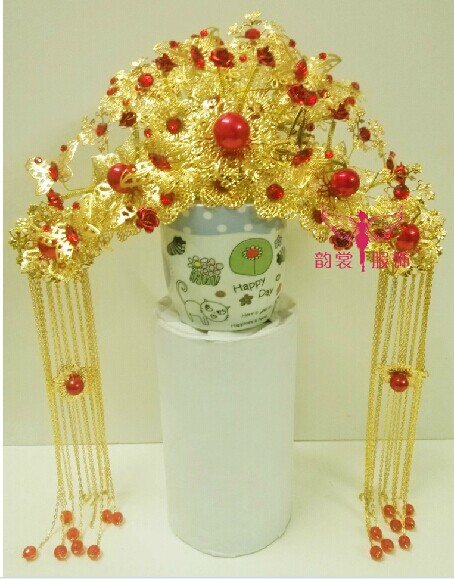 00009 Red Gold Bride Wedding Hair Tiaras Ancient Chinese Empress Hair Piece 00008 red gold bride wedding hair tiaras ancient chinese empress hair piece