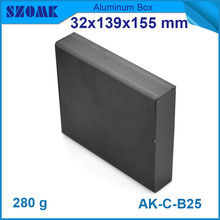 4pcs/lot black powder coating aluminium cabinet distribution box for diy pcb broad 32*139*155mm