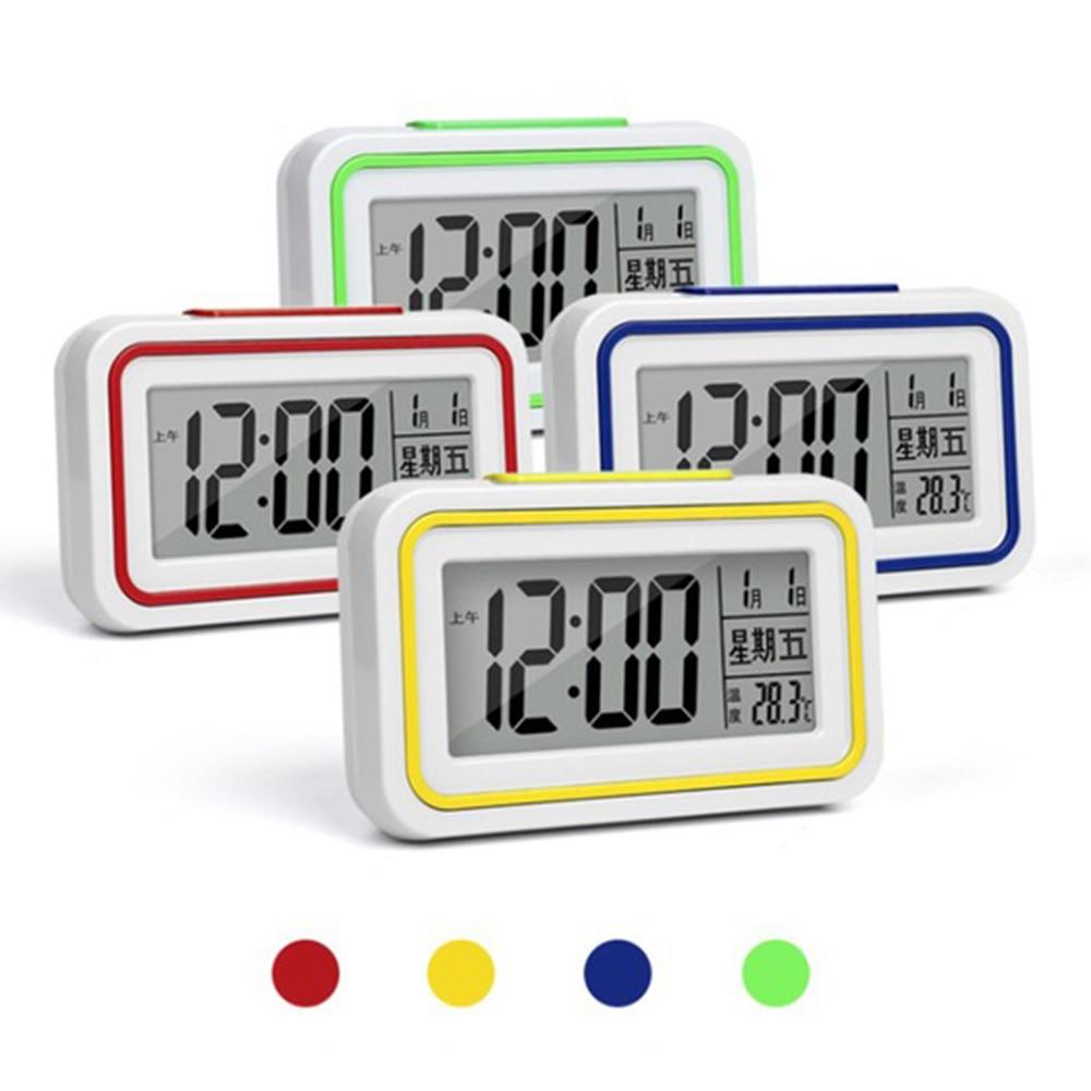 NOVO Alarme Estudante Relógio Relógio Grande Display LCD Digital Snooze Eletrônico Crianças Nightlight Sensor de Luz Relógio Relógios de Mesa de Escritório
