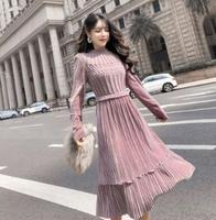 Korean and japanes Style fashion pleated Autumn winter Long princess velvet dress Elegant party dress wholesale zo036
