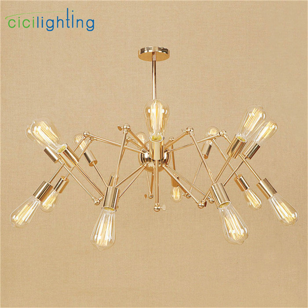 New Arrival 6/8/10/12/16 light Gold Plated  pendant light Art Spider Living room dining room lamparas colgantes luminaireNew Arrival 6/8/10/12/16 light Gold Plated  pendant light Art Spider Living room dining room lamparas colgantes luminaire
