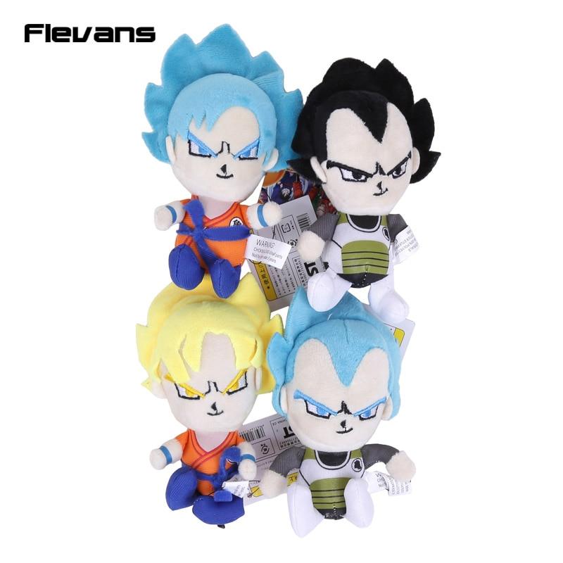 Dragon Ball Z Super Saiyan Son Goku Vegeta Plush Toys With Keychain Pendant Soft Stuffed Dolls 13cm 10pcs Lot