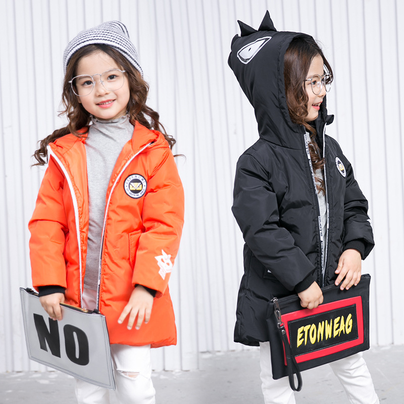 2018 New Fashion Children Winter Jacket Girl Winter Coat Kids Warm Thick Fur Collar Hooded long down Coats For Teenage 2017 men down jacket winter warm collar fur trim hood coat outwear puffer down cotton long jacket clothes thick canada cheap top