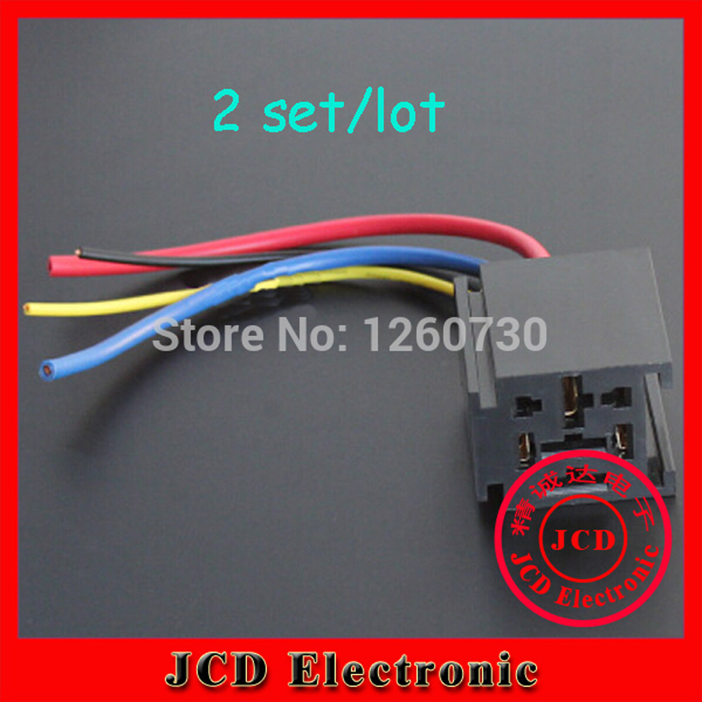 2 sets auto Relay socket with cable automotive 9.5 feet Auto connector 1 piece waterproof automotive relay 12v 5pin 40a car relay 12v 4pin with black red copper terminal auto relay with relay socket