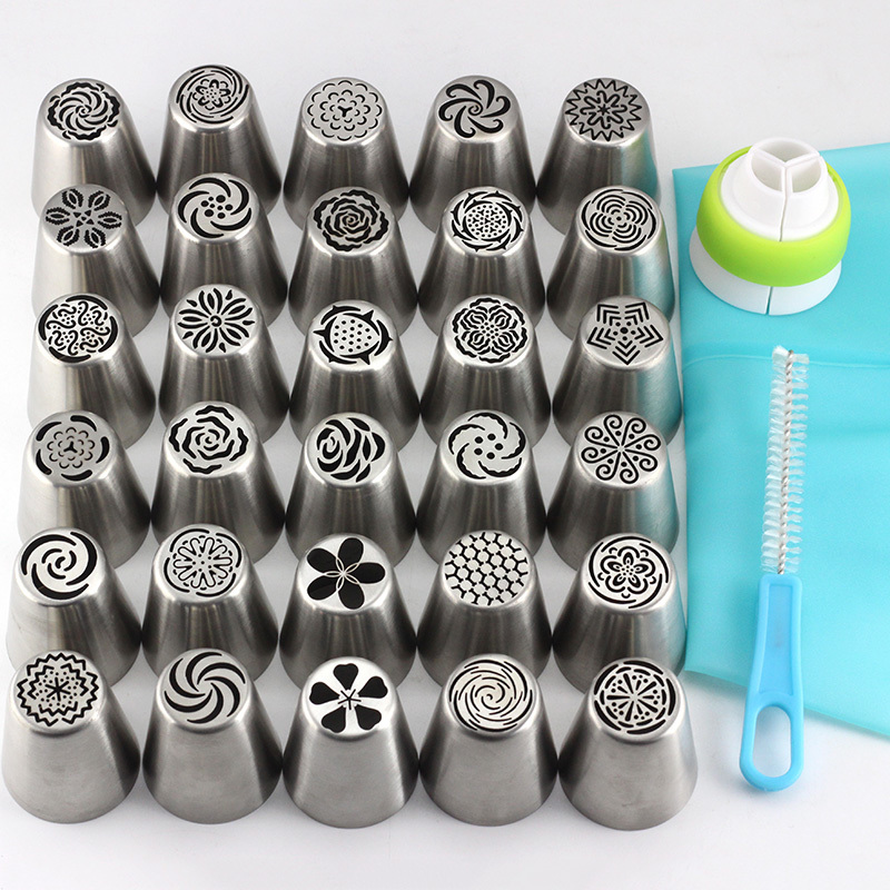 Mujiang 30Pcs Stainless Steel Russian Tulip Cream Icing Piping Nozzles Rose Pastry Tips Fondant Cake Decorating Baking Tools
