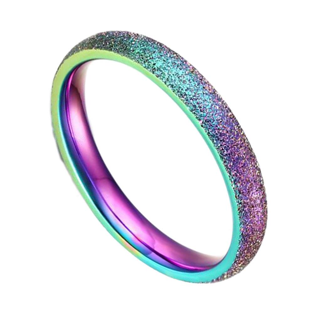 Fashion Simple Ring Female Fashion Stainless Steel Ring Colour Scrub Rainbow Color Sandblasting