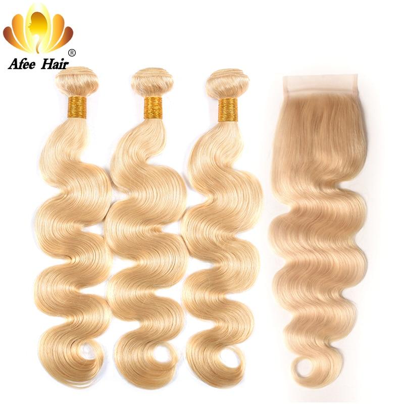 Aliafee 613 Hair Bundles Brazilian Body Blonde Bundles with Closure Remy Hair Weave Blonde Hair 100