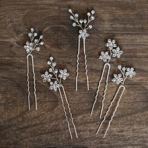 Image 4 - Jonnafe Shine Rhinestone Floral Wedding Hair Pins Set Gold Silver Color Bridal Hair Jewelry Accessories