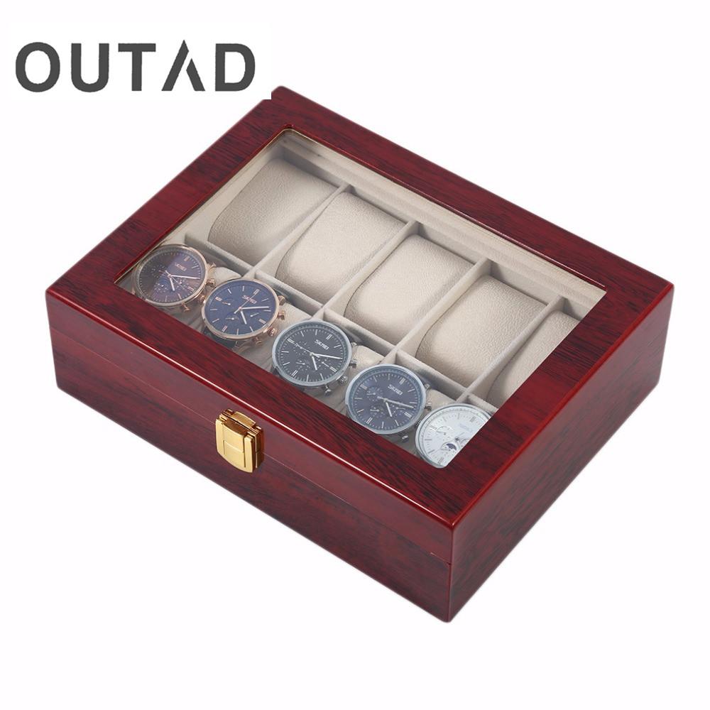 Outad wooden watch box luxury solid wood 10 grid storage cases display watches perfect gift for Watches box