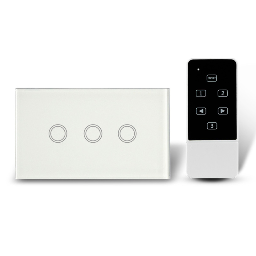 US Type 3 Keys ON/OFF Touch Switch with Wireless Remote Control, AC110-240V, RF 433Mhz, Capacitive Tactile Wall SwitchUS Type 3 Keys ON/OFF Touch Switch with Wireless Remote Control, AC110-240V, RF 433Mhz, Capacitive Tactile Wall Switch