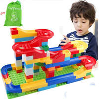 Happywill 1 Set Run Rolling Ball Rail Building Blocks Enlighten Bricks Trajectory Learning Education Toys