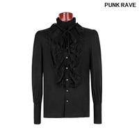 Gothic Retro Victorian Cotton Single Breasted Dark Grain Horn Shirt Ruffles Turn down Collar Man shirts Blouses PUNK RAVE Y 597