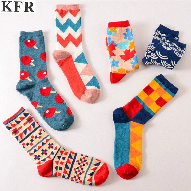 Colour crew cotton cute happy   socks   men/womens short with print casual harajuku designer art female fashion art for couple funny