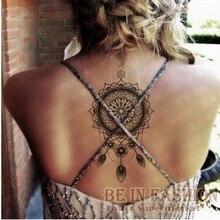 1piece Indian Arabic Fake Black Temporary Tattoos Stickers For Arm Shoulder Tatoos Waterproof Men Women Big On Back Neck QS-C049
