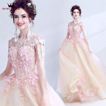 Luxury Evening Dresses Ball Gown Champagne Pink Appliques Flowers Beads Party Evening Gown Vestido De Festa 2020 New LS18M