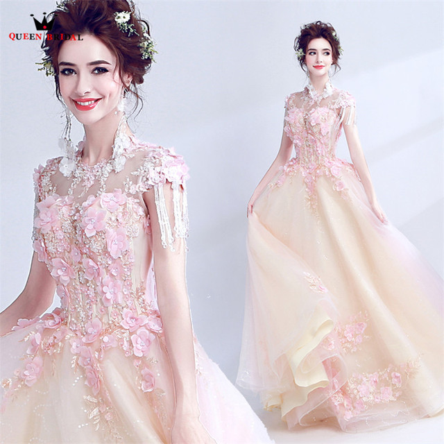 QUEEN BRIDAL Evening Dresses Ball Gown Champagne Pink Appliques Flowers Beads Party Evening Gown Vestido De Festa 2018 New LS18M