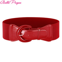 Belle Poque Fashion Women S Wide Belt Faux Leather Buckle Stretchy Elastic Solid Casual Waist Belts