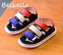 Belbello Boys Sandals Children Shoes Kid Flats Gladiator Beach Shoes Summer Fashion Casual Loop Patchwork Soft Rubber Sole Shoes
