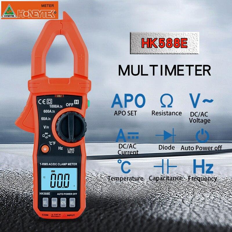 Multimètre HONEYTEK True RMS Mini pince numérique mètres tension de courant ca/cc sans Contact gamme automatique Diode de capacité VFC HK588E