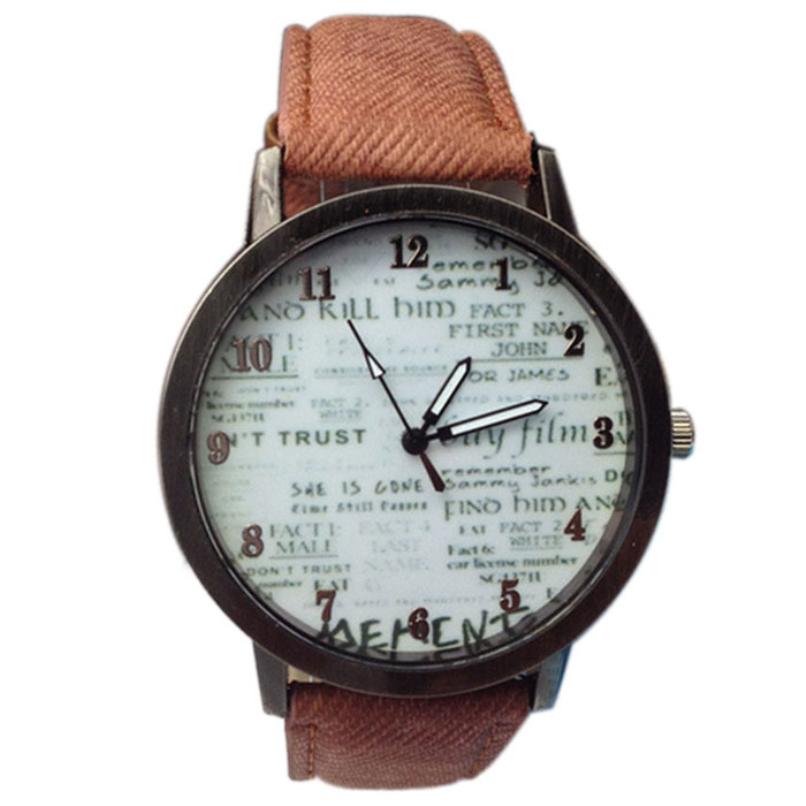 Fashion Woman Men Clock Cowboy Fabric Watches Band Wrist Watch Unisex Quartz Wrist Sport  Watch