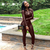 BerryPark High Fashion PU Leather 2Pcs Set 2019 NEW Women Turn-Down Collar Pockets Jacket and Pencil Pants Outfits Dropshipping 3